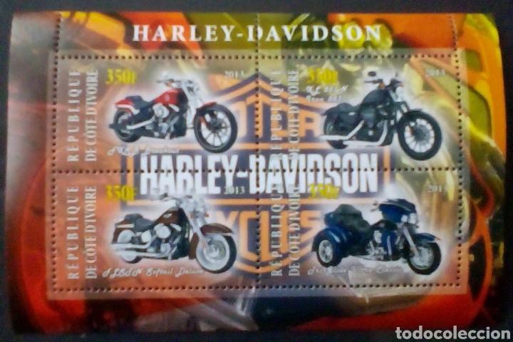 MOTOCICLETAS HARLEY DAVIDSON HOJA BLOQUE DE SELLOS NUEVOS DE COSTA DE MARFIL (Sellos - Temáticas - Otros Transportes)