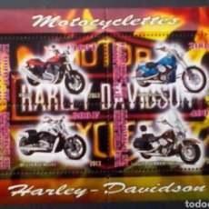 Sellos: MOTOCICLETAS HARLEY DAVIDSON HOJA BLOQUE DE SELLOS NUEVOS DE DJIBOUTI. Lote 192168548