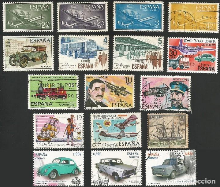 ESPAÑA VARIOS AÑOS - TRANSPORTES - 17 SELLOS USADOS (Sellos - Temáticas - Otros Transportes)