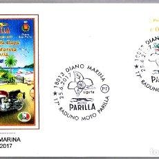 Sellos: MATASELLOS FERIA DE MOTO PARILLA - PERRO - GALGO. DIANO MARINA, ITALIA, 2017. Lote 173576397