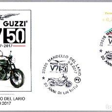 Sellos: MATASELLOS 50 AÑOS MOTO GUZZI V7. MANDELLO DEL LARIO, ITALIA, 2017. Lote 173576535