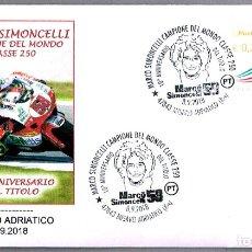 Sellos: MATASELLOS MOTOCICLISMO - MARCO SIMONCELLI -CAMPEON DEL MUNDO 250 CC. MISANO ADRIATICO, ITALIA, 2018. Lote 173576720
