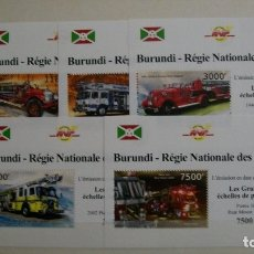 Sellos: BURUNDI-2012-TRENES DE VAPOR-SERIE COMPLETA DE 5 BLOQUES**(MNH). Lote 180213397