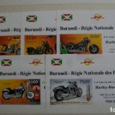 Sellos: BURUNDI-2012-MOTOS-HARLEY DAVIDSON-SERIE COMPLETA DE 5 BLOQUES**(MNH). Lote 180213438