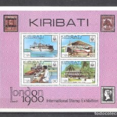 Sellos: KIRIBATI H.B. Nº2** EXPOSICIÓN FILATÉLICA. BARCO, AVIÓN, RADIO. COMUNICACIONES POSTALES. Lote 183457680