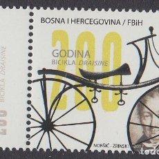 Sellos: BOSNIA I HERZEGOVINA MOSTAR 2017 200 AÑOS DE LA BICICLETA DRAISINE. Lote 193023407