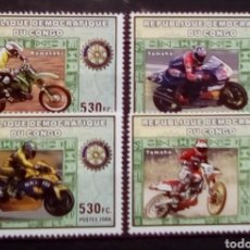 Timbres: MOTOCICLETAS JAPONESA SERIE COMPLETA DE SELLOS NUEVOS DE REPÚBLICA DEL CONGO. Lote 200335080