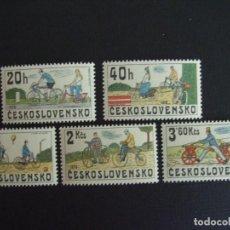 Sellos: CHECOSLOVAQUIA Nº YVERT 2350/4*** AÑO 1975. BICICLETAS. Lote 201256842
