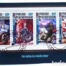 Sellos: MOTOCICLETAS HOJA BLOQUE DE SELLOS USADOS DE REPÚBLICA CENTROAFRICANA. Lote 203412890