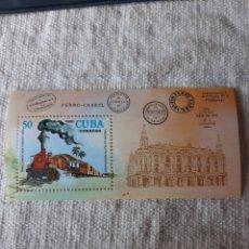 Sellos: CUBA TRENES FERROCARRIL HIJA BLOQUE N 64 MANCHITAS NUEVA AÑO 1980. Lote 205380273