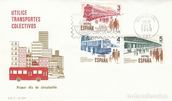 EDIFIL 2560/2, UTILICE TRANSPORTES COLECTIVOS, PRIMER DIA DE BARCELONA DEL 20-2-1980 SFC (Sellos - Temáticas - Otros Transportes)