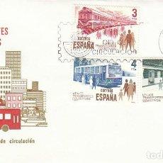 Sellos: EDIFIL 2560/2, UTILICE TRANSPORTES COLECTIVOS, PRIMER DIA DE BARCELONA DEL 20-2-1980 SFC. Lote 206346862