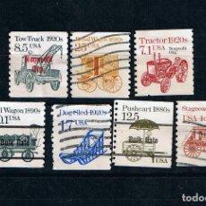 Sellos: LOTE DE 7 SELLOS USADOS 1987 SERIE TRANSPORTES ESTADOS UNIDOS -US POSTAGE EEUU USA. Lote 212909315