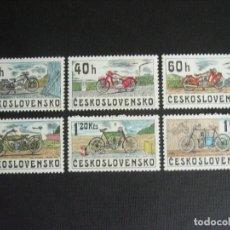 Sellos: CHECOSLOVAQUIA Nº YVERT 2117/2** AÑO 1975. HISTORIA DE LAS MOTOCICLETAS SERIE CON CHARNELA. Lote 215589176