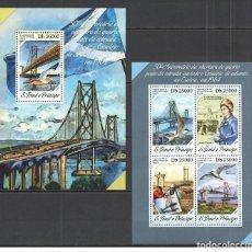 Sellos: SANTO TOME & PRINCIPE 2014 - ARCHITECTURE BRIDGES M/S + S/S OFFICIAL ISSUE MNH. Lote 219771100