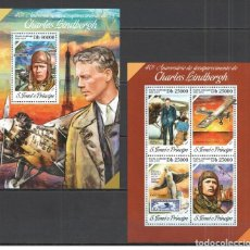 Sellos: SANTO TOME & PRINCIPE 2014 - CHARLES LINDBERGH M/S + S/S OFFICIAL ISSUE MNH. Lote 219771150