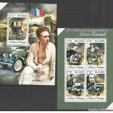 Sellos: SANTO TOME & PRINCIPE 2014 - LOUIS RENAULT M/S + S/S OFFICIAL ISSUE MNH. Lote 219771290
