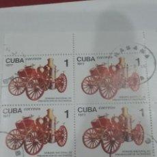 Sellos: SELLOS R. CUBA MTDOS/1977/BLOQUE 4/BOMBEROS/CAMIONES/VAPOR/ESCALERA/BRIGADA/VEHICULO/COCHE/TRANSPORT. Lote 220601708