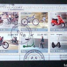 Sellos: MOZAMBIQUE MOTOCICLETAS HOJA BLOQUE DE SELLOS USADOS. Lote 236428400