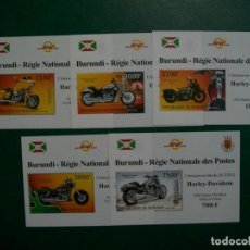 Sellos: BURUNDI-2012-5 BLQUES(EMICION CONMEMORATIVA)EN NUEVO(**MNH)-MOTOS-HARLEY DAVIDSON. Lote 236884390