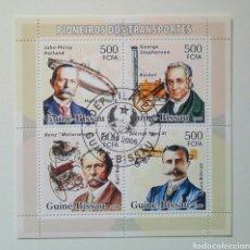 Sellos: PIONEROS DEL TRANSPORTE HOJA BLOQUE DE SELLOS USADOS DE GUINEA BISSAU. Lote 246050170