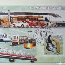 Sellos: TRANSPORTE URBANO HOJA BLOQUE DE SELLO USADOS DE GUINEA BISSAU. Lote 246052085