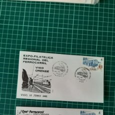 Sellos: FERROCARRILES VIGO ORENSE 1981 MATASELLOS GALICIA TRENES TRANSPORTES. Lote 251680780