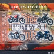 Timbres: MOTOCICLETA HARLEY DAVIDSON HOJA BLOQUE DE SELLOS NUEVOS DE DJIBOUTI. Lote 252747770