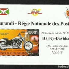 Sellos: BURUNDI 2012 HOJA BLOQUE SELLOS TEMATICA TRANSPORTE- MOTO HARLEY DAVIDSON. Lote 262655360