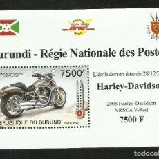 Sellos: BURUNDI 2012 HOJA BLOQUE SELLOS TEMATICA TRANSPORTE- MOTO HARLEY DAVIDSON. Lote 262655370