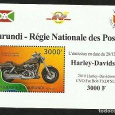 Sellos: BURUNDI 2012 HOJA BLOQUE SELLOS TEMATICA TRANSPORTE- MOTO HARLEY DAVIDSON. Lote 262655385