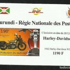 Sellos: BURUNDI 2012 HOJA BLOQUE SELLOS TEMATICA TRANSPORTE- MOTO HARLEY DAVIDSON. Lote 262655390