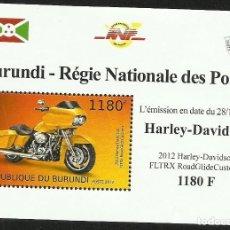 Sellos: BURUNDI 2012 HOJA BLOQUE SELLOS TEMATICA TRANSPORTE- MOTO HARLEY DAVIDSON. Lote 262655405