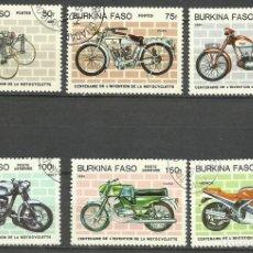 Sellos: BURKINA FASO 1985 LOTE SELLOS TRANSPORTE - MOTOS - CENTENARION DE LA INVENCION DE LA MOTOCICLETA. Lote 277048688