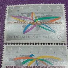 Sellos: SELLO NACIONES UNIDAS (VIENA) MTDOS/1994/30CONFERENCIA/COMERCIO/DESARROLLO/CONTINENTES/RUTAS/MAPAMUN. Lote 287776413