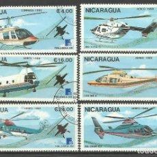 Sellos: NICARAGUA 1988 LOTE DE SELLOS AVIACION - HELICOPTEROS- EXPOSICION FILATELICA FINLANDIA 88. Lote 288866178