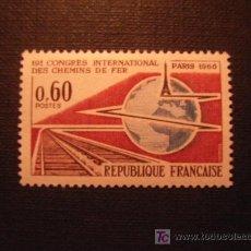 Francobolli: TRENES. SELLO DE FRANCIA Nº YVERT 1488*** AÑO 1966. CONGRESO INTERNACIONAL DE FERROCARRILES. Lote 256043530