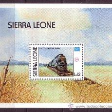 Sellos: SIERRA LEONA HB 46*** - AÑO 1986 - TRENES - EXPOSICIÓN FILATÉLICA AMERIPEX. Lote 24765145