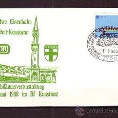 Sellos: ALEMANIA SOBRE FILATELICO - AÑO 1988 - 125º ANIV. DEL FERROCARRIL WALDSHUT - CONSTANZA. Lote 25302457