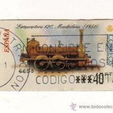 Sellos: SELLO USADO DE VALOR VARIABLE DEDICADO A LA LOCOMOTORA MADRILEÑA (1851) Y EMITIDO EN FEBRERO 2001. Lote 26323829
