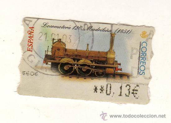 SELLO USADO DE VALOR VARIABLE DEDICADO A LA LOCOMOTORA MADRILEÑA (1851) Y EMITIDO EN FEBRERO 2001 (Sellos - Temáticas - Trenes y Tranvias)