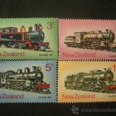 Sellos: NUEVA ZELANDA 1973 IVERT 586/9 *** LOCOMOTORAS DE VAPOR - TRENES. Lote 32075137
