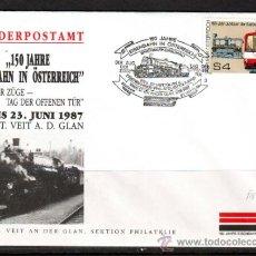 Sellos: AUSTRIA.1987.TRENES.FERROCARRIL.BONITO MATASELLOS.. Lote 32615580