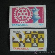 Sellos: TANZANIA 1986 IVERT 275/76 *** CAMPEONATO DEL MUNDO DE AJEDREZ DE LONDRES Y LENINGRADO. Lote 36375173