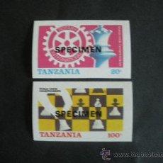 Sellos: TANZANIA 1986 IVERT 275/76 *** CAMPEONATO DEL MUNDO DE AJEDREZ DE LONDRES Y LENINGRADO. Lote 36375205