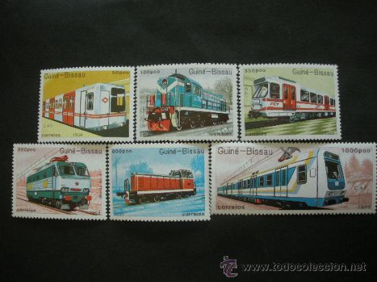 GUINEA BISSAU 1989 IVERT 521/7 *** TRASNPORTES FERROVIARIOS - TRENES (Sellos - Temáticas - Trenes y Tranvias)