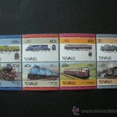 Sellos: TUVALU 1985 IVERT 331/8 *** LOCOMOTORAS - 5ª SERIE - TRENES. Lote 36374781