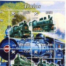 Sellos: MALAWI 2012 - HOJA BLOQUE SELLOS TEMATICA TREN - LOCOMOTORA- TRENES - TRANVIA - TRAINS. Lote 38696842