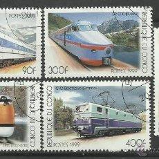 Sellos: CONGO 1999 - LOTE DE SELLOS TEMATICA TREN - LOCOMOTORA- TRENES - TRANVIA - TRAINS. Lote 41256038