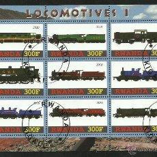 Sellos: RWANDA 2010 HOJA BLOQUE TREN - LOCOMOTORAS I- TRENES- TRAINS- LOCOMOTIVES. Lote 42889045